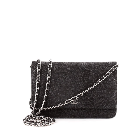 b226b69be51809 Buy Chanel Wallet on Chain Flap Lace Over Leather Black 1088601 – Rebag