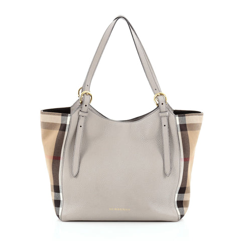 b9fb2a485ec4 Buy Burberry Canterbury Tote Leather and House Check Canvas 1101601 – Rebag
