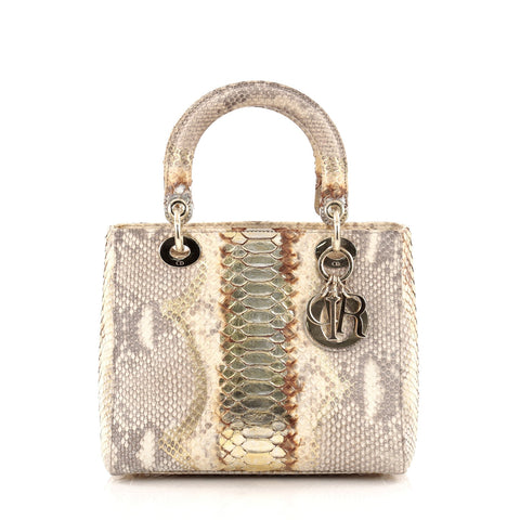 56c0061a538 Buy Christian Dior Lady Dior Handbag Python Medium Gold 1112002 – Rebag