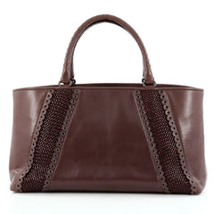Bottega Veneta Rugiada Tote Intrecciato Leather with Grommet Detail Medium