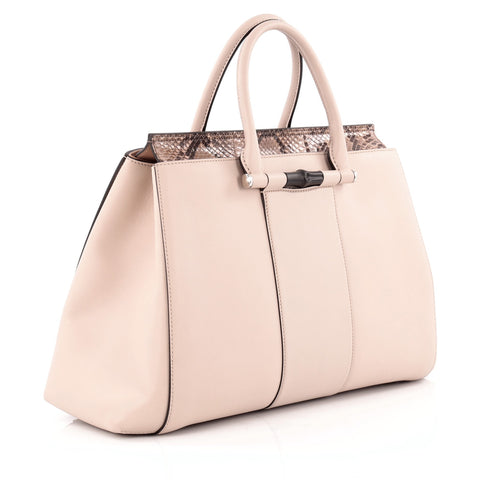 2016dc38560e Buy Gucci Lady Bamboo Top Handle Bag Leather and Python Pink 1120103 ...