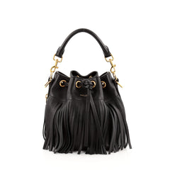Saint Laurent Fringe Emmanuelle Bucket Bag Leather Small