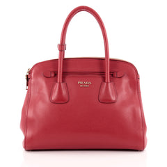 Prada Cuir Frame Double Zip Tote Saffiano Leather Small
