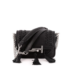 Tod's Double T Crossbody Bag Woven Leather Mini