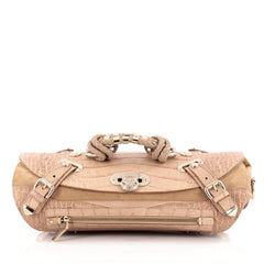 Versace Canyon Bag Crocodile Embossed Leather with Suede Medium