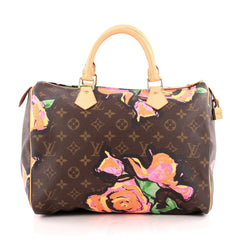 Louis Vuitton Speedy Handbag Limited Edition Monogram Canvas Roses 30