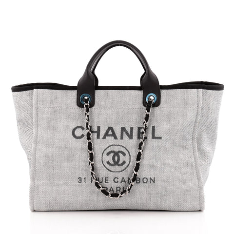 1f11acbf9636 Buy Chanel Deauville Chain Tote Canvas Large Gray 1156101 – Rebag