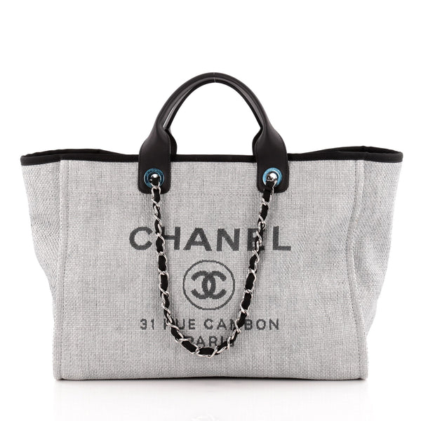 cc132ee97977 Buy Chanel Deauville Chain Tote Canvas Large Gray 1156101 – Rebag