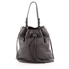 Balenciaga Papier Plate Bucket Bag Leather Small