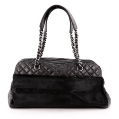 Chanel Chain Bowler Bag Quilted Calfskin and Pony Hair Large