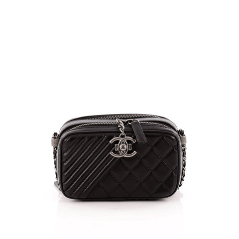 Buy Chanel Coco Boy Camera Bag Quilted Leather Mini Black 1169901 ... 0cb1db09a93dc