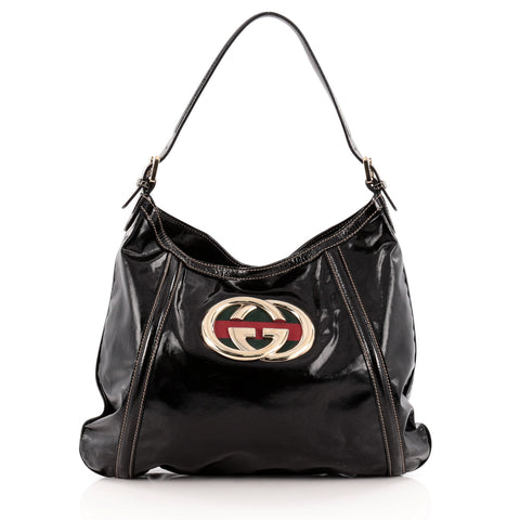 b24cd8d7fea0 Buy Gucci Britt Web Hobo Dialux Coated Canvas Medium Black 1172701 – Rebag