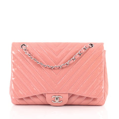 Chanel Classic Single Flap Bag Chevron Patent Jumbo