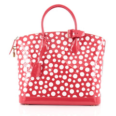Louis Vuitton Lockit Handbag Monogram Vernis Kusama Infinity Dots MM