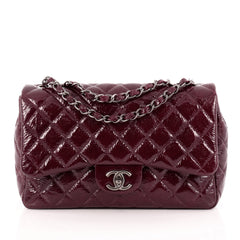 Chanel Classic Single Flap Bag Quilted Crinkled Patent Jumbo