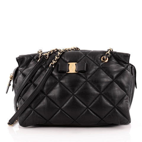 7709db1b8a Buy Salvatore Ferragamo Ginette Chain Shoulder Bag Quilted 1190002 – Rebag