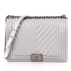 Chanel Boy Flap Bag Chevron Calfskin Large