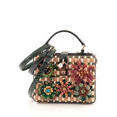 Dolce & Gabbana Treasure Box Bag Embellished Raffia and Python Small