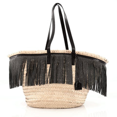 Saint Laurent Panier Basket Fringe Shopper Woven Raffia with Leather Large