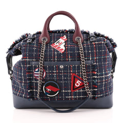 Chanel Crest Trip Bowling Bag Patch Embellished Tweed and Grained Calfskin