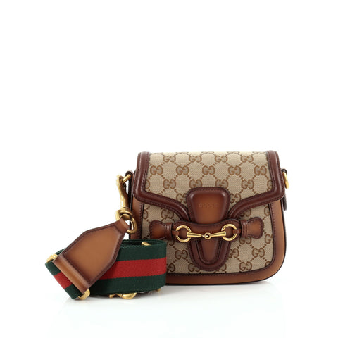 9cc5524eb63b Buy Gucci Lady Web Shoulder Bag GG Canvas Small Brown 1200404 – Rebag