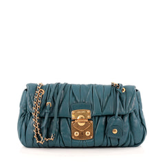 Miu Miu Lock Flap Chain Crossbody Matelasse Leather Small