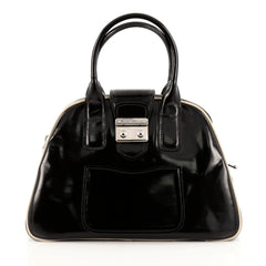 Miu Miu Double Zip Lock Dome Satchel Patent Large