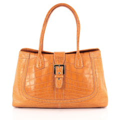 Tod's Buckle Satchel Alligator Medium