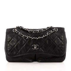 Chanel Natural Beauty Split Pocket Flap Bag Quilted Caviar Medium