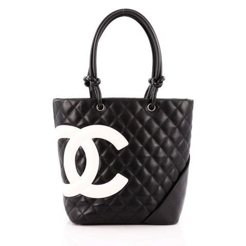 c4a6718356c3a8 Buy Chanel Cambon Tote Quilted Leather Medium Black 1221401 – Rebag