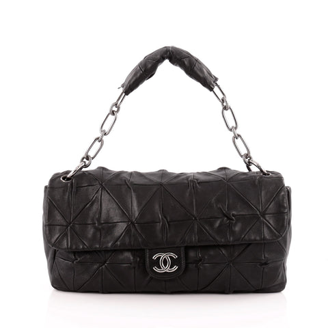 6dc067d9f0a6 Buy Chanel Origami Flap Bag Quilted Lambskin Jumbo Black 1225803 – Rebag