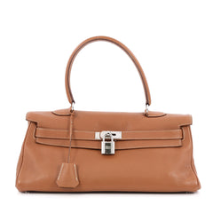 Hermes Shoulder Kelly Handbag Clemence 42 Brown