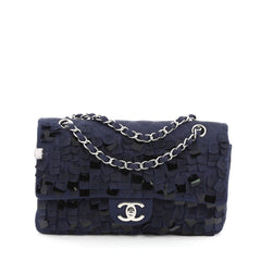 Chanel Classic Double Flap Bag Pailette Embellished Quilted Satin Medium Blue 1228101