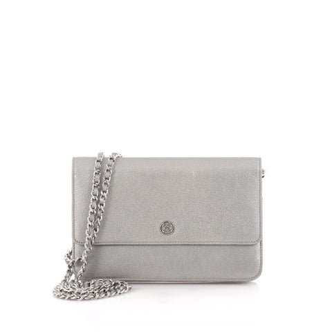 4c9021aebe0197 Buy Chanel Wallet on Chain Leather Silver 1229701 – Rebag