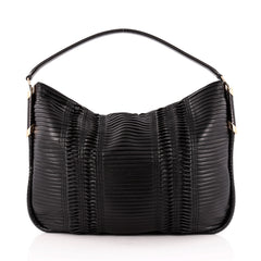 Jimmy Choo Zoe Hobo Pleated Leather with Snakeskin Medium