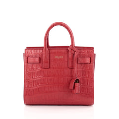 Saint Laurent Sac De Jour Handbag Crocodile Embossed Leather Nano
