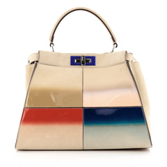 Fendi Color Block Peekaboo Handbag Patent and Suede Regular
