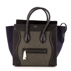 Celine Tricolor Luggage Handbag Felt Mini