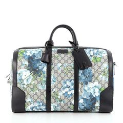 Gucci Convertible Duffle Bag Blooms Print GG Coated Canvas Medium