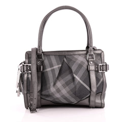 Burberry Convertible Satchel Shimmer Nova Check Canvas Medium