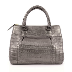 Nancy Gonzalez Double Zip Convertible Tote Crocodile Medium