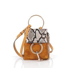 Chloe Faye Bracelet Crossbody Bag Suede And Leather With Python Mini