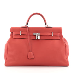 Hermes Kelly Travel Handbag Red Togo with Palladium Hardware 50