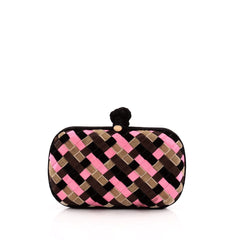 Bottega Veneta Box Knot Clutch Intrecciato Satin and Velvet Small