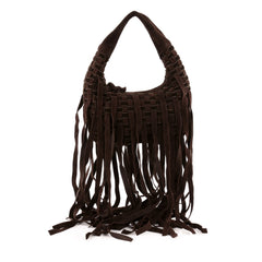 Bottega Veneta Fringe Hobo Intrecciato Suede and Velvet Mini
