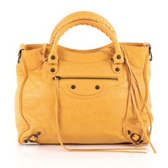 Balenciaga Velo Classic Studs Handbag Leather Yellow