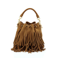 Saint Laurent Fringe Emmanuelle Bucket Bag Suede Small
