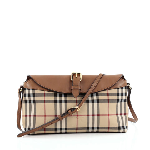92ddcf364214 Buy Burberry Leah Clutch Bag Horseferry Check Canvas Small 1304501 – Rebag