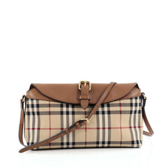 Burberry Leah Clutch Bag Horseferry Check Canvas Small