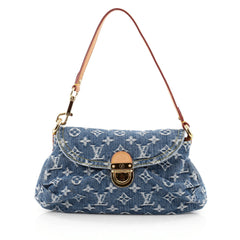 Louis Vuitton Pleaty Handbag Denim Mini